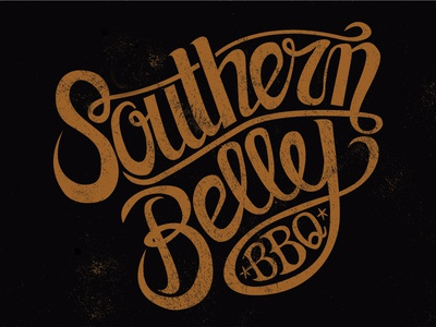 Southern Belley Vector illustrator vector southern southernbelle barbecue bbq typography type custom-type hand-drawn