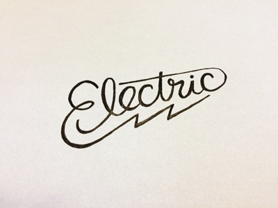 Electric WIP pen typography type hand-drawn custom-type lightning sketch electric