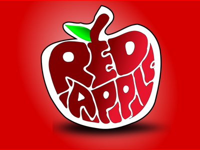 RED APPLE logo branding illustration design flat