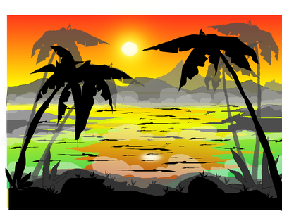 danau landscape minimal design decorative line art illustrator landscape black smoky dawn coconut sun lake