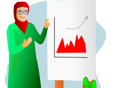 career hijaber communication team leader work office graphic presentation red green moeslem hijab woman career