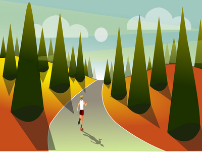 running in the forest health day run female sport decorative graphic design lineart flat art illustration design
