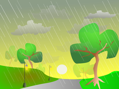 Morning rain day lamp road rainforest sun morning rain minimal lineart illustration