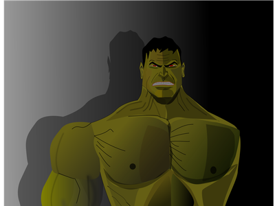Green monster big illustrator design angry anger lineart strong green power male man giant