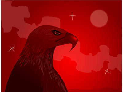 Eagleeye lineart silhoutte lake feather claw eye black red eagle gradient animal