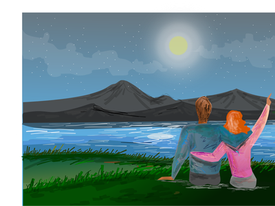 Couple in a lake minimal lineart romantic star light sketches moonlight water lakes in love lake couple
