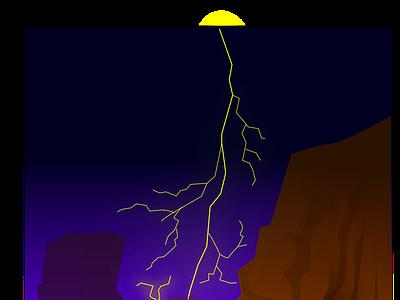 Lightning lineart illustration rain impact rocks lightning extreme weather dark sea