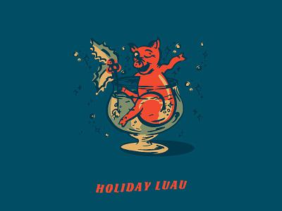 Holiday Luau pig christmas winter procreate illustration luau holiday