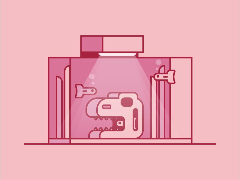 Fish Tank illustration trex tank fish