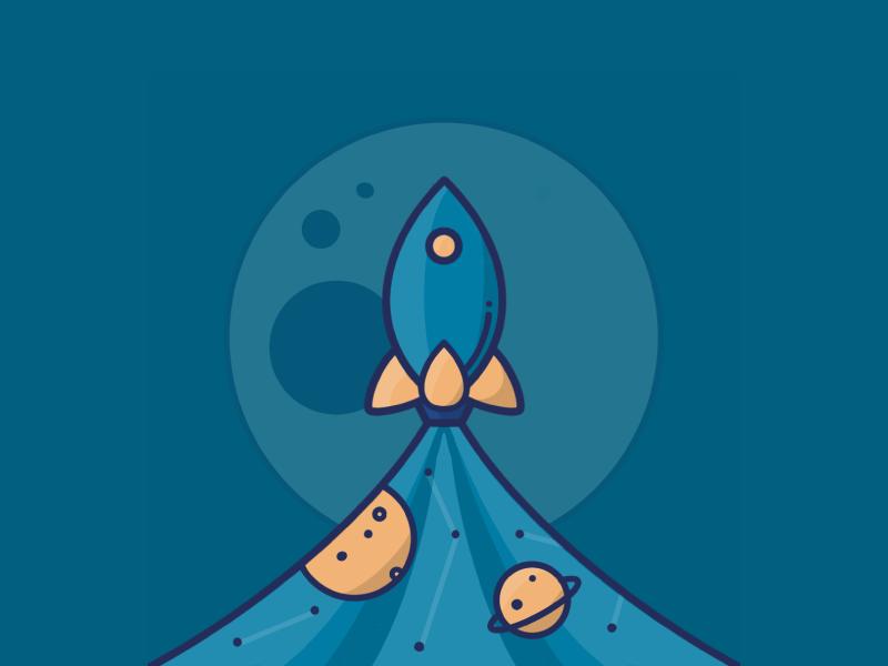 Rocket procreate app ipad illustration handdrawn space stars moon rocketman rocket