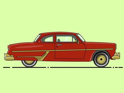 Classic car flat vector design illustration