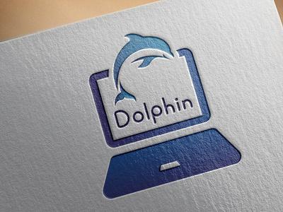 Dolphin's laptop shop logo illustration design