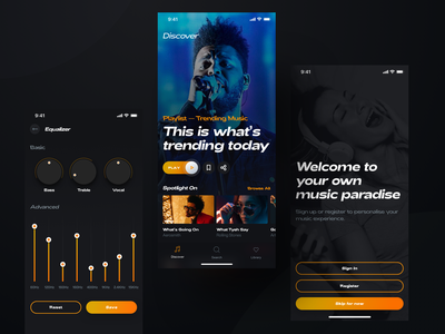 YouTube Music Player darkui dark video equalizer youtube iphone mobile streaming ui player spotify chart design music app