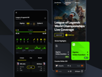 eSports Live Scores match csgo dota league of legends schedule league dark mobile ui app games live scores streaming esports gaming