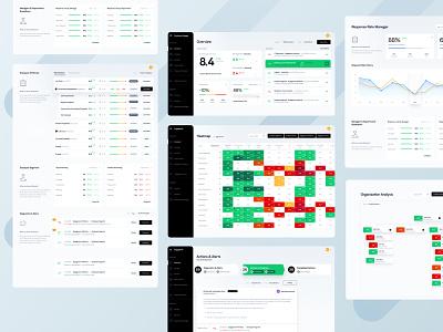 Employee Engagement App emoloyee engagement statistics stats heatmap org chart chart design chart desktop mobile ui app
