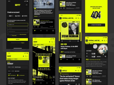 newonce sport blog magazine grid ui list feed article radio player iphone minimal sports design registration podcast music sport app