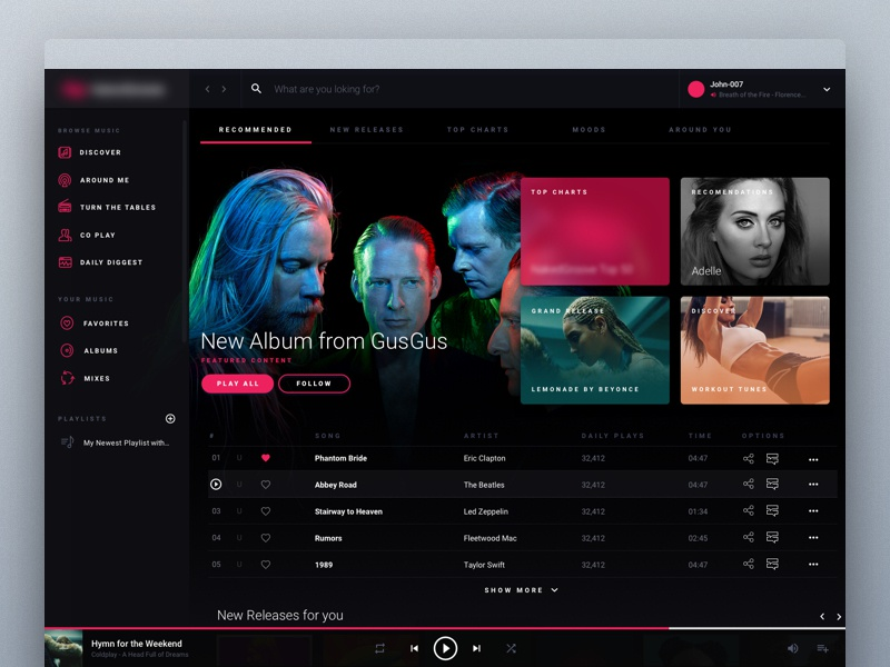 Online Music Streaming Service playlist charts play deezer spotify tidal online design product service streaming music