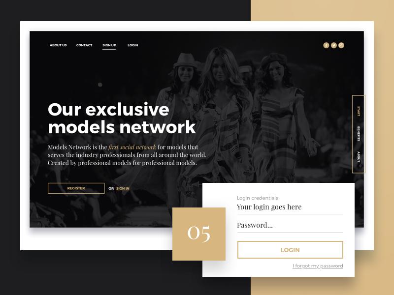 Landing page for Social Network for Models serif bold typography gold dark photo landing design fashion