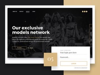 Landing page for Social Network for Models