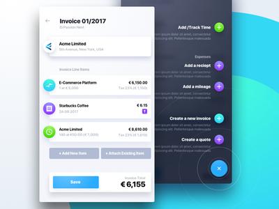 Invoicing App Concept wizzard creator bills accounting fluent list financial finance invoice
