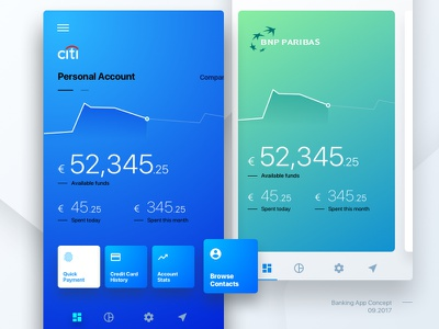 Banking App Concept mobile switch layers fluent ios cards concept app bank