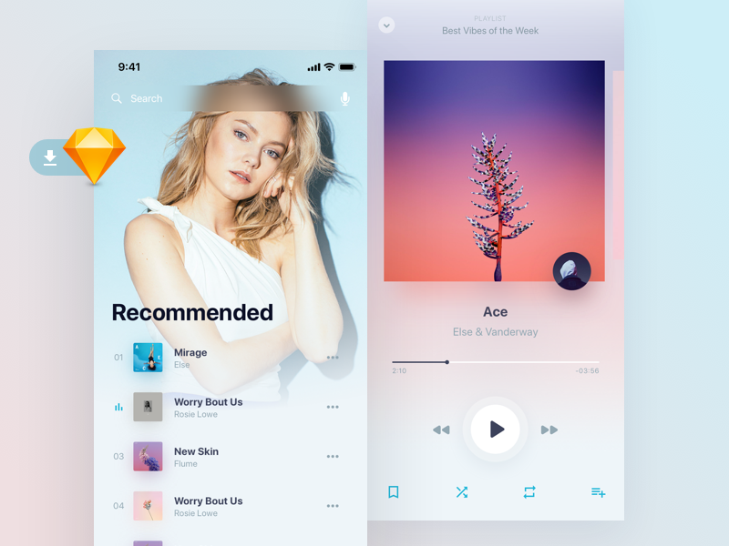 Holo Music UI Kit Light Freebie