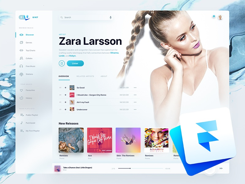 Holo Music UI Kit Framer Freebie
