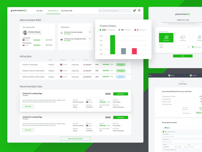 Great Content dashboard chart table desktop app web box profile avatar content