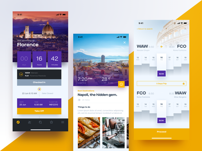 Flight Booking App Screens mobile iphone ui timeline search booking ticket flight photo article inspiration travel app