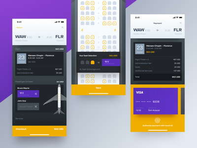 Flight Reservation & Ticket Purchase seat touch card credit payment reservation booking ticket flights ui mobile app