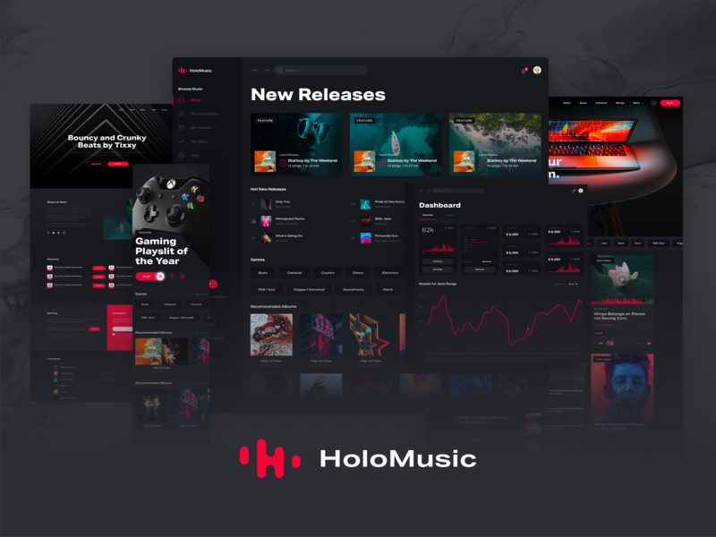 Holo Music Design System Official Release style guide design systems kit design system desktop ui streaming player spotify music app