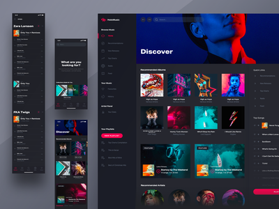 HM: Content Discovery Screens design system ui ios responsive design streaming mobile spotify player chart music app