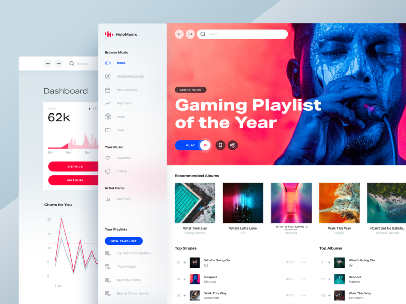 Light Theme for Design System ux ui typography clean light online desktop streaming spotify player chart music app