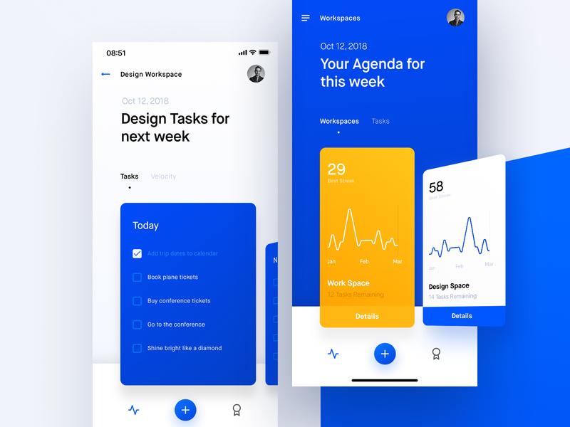 Task Management App framer x framer workshop ux mobile design ui iphone clean typography chart to do app tasks