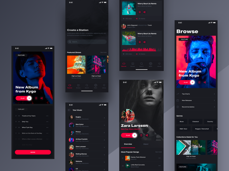 Holo Music Mobile vol. 1 streaming typography lifestyle web ios responsive iphone mobile design ui spotify player chart music app