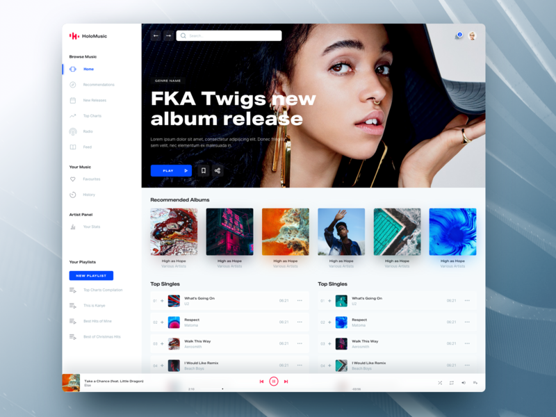 Holo Music Light design system ui kit lifestyle web design spotify app music chart player streaming desktop online light clean typography ui ux