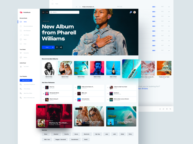 Holo Music Discover Section design systems system design system lifestyle ui kit web desktop ui streaming design player spotify music chart app