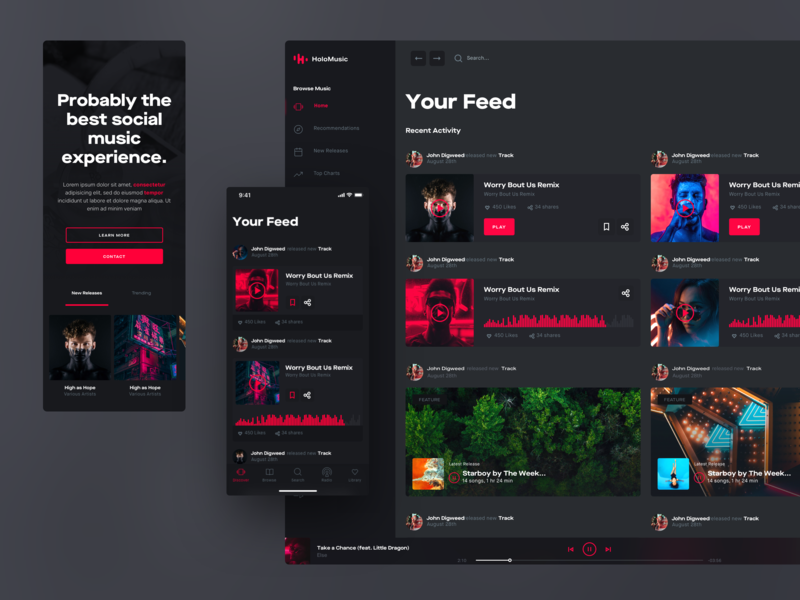 Holo Design System Social Feed network social feed responsive ui kit iphone desktop mobile ui design chart music app