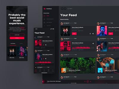 Holo Design System Social Feed network social feed responsive ui kit iphone desktop mobile ui design chart music app