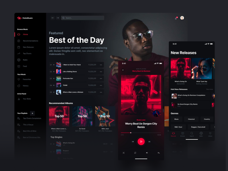 Holo Music 2.0 ui kits design system ui kit iphone desktop ui streaming player spotify design chart music app