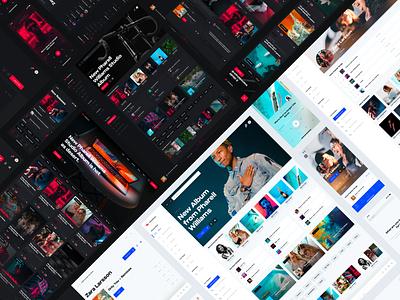 Holo Music Cyber Monday Promo dashboard portal news design system ui kit lifestyle web mobile desktop streaming player spotify design chart music app