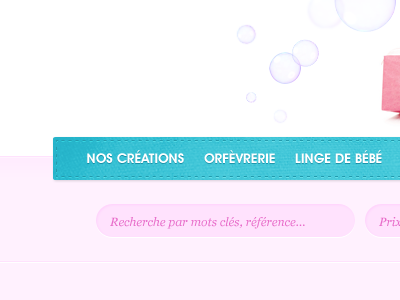 Bubbles + Menu menu bubbles blue pink search baby website french header