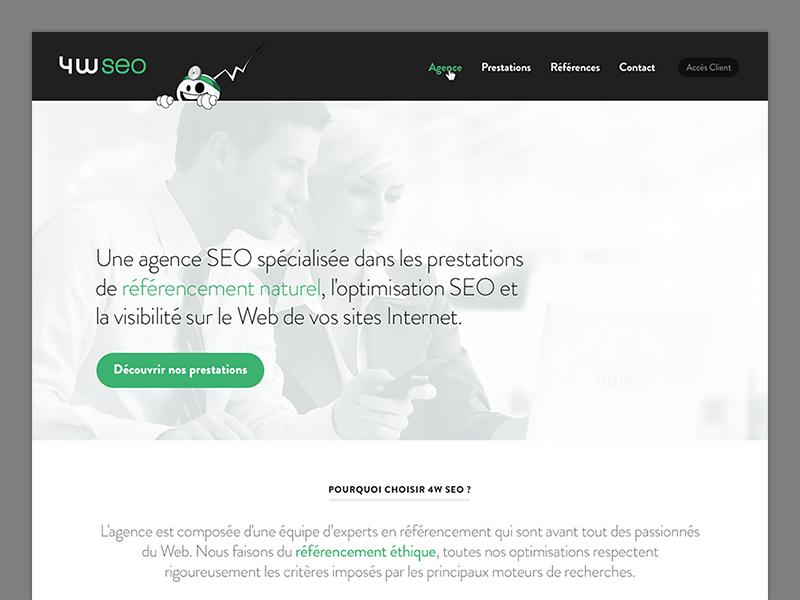 New 4W SEO website seo background brandon agency green headline
