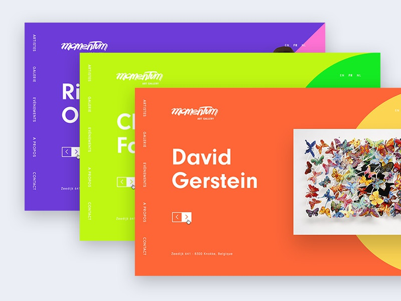 Momentum bold minimalist colorful colors art direction website art gallery