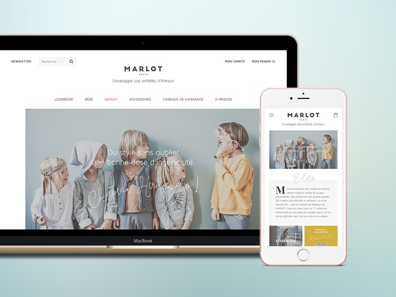 Marlot Paris lookbook macbook iphone6s responsive iphone laptop website shopping kids ecommerce shop