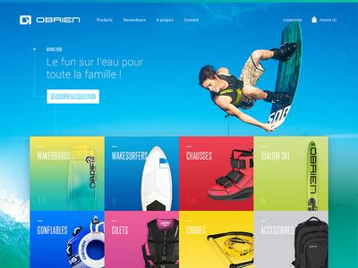 O'Brien webdesign ecommerce prestashop shop blue wave water obrien wakeboard surf