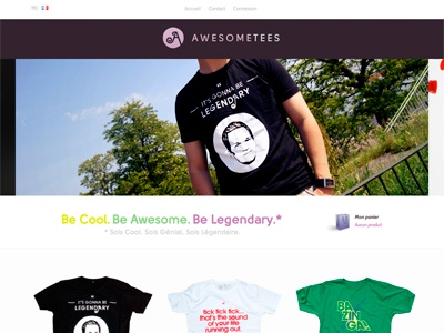 Awesome Tees Website awesome website webdesign apparel tees shirts legendary