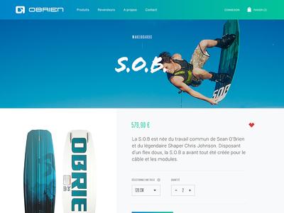 S.O.B. prestashop sport blue ecommerce shop wakeboard surf obrien