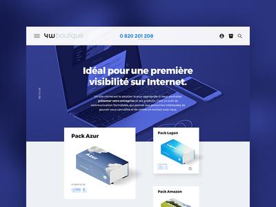 4w Boutique hero blue agency shop website webdesign ecommerce