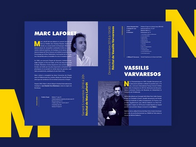 Musical Event concert piano leaflet flyer event music yellow blue print layout